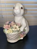 San Francisco Music Box Co -Anna Rosa Collection- Rabbit With Flowers in Basket