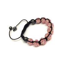 Baby Pink Shamballa Adjustable Bracelet 10 mm 9 Disco Balls Beads Crystal Bangle
