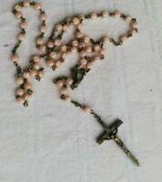 Rosario antico grani rosa sagomati arte sacra vintage