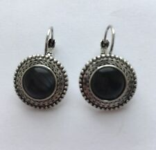 Round Black Opal Earrings Silver Base Stud For Pierced Ears Bohemian E144 UK