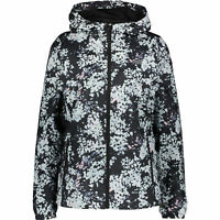 NEW BALANCE Women's Black/Grey Floral Printed Lightweight Hooded Jacket, size L