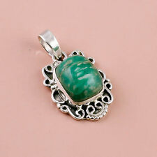 925 Sterling Silver Pendant, Natural Gemstone Amazonite Handmade Jewelry DJ5126