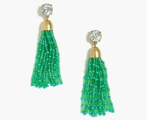 J.CREW Mixed Beaded Tassel Earrings FROSTY EMERALD GREEN NEW K7431