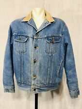 Vintage Lee Stormrider Fleece Lined Jean Jacket Size 46 Mens Blue