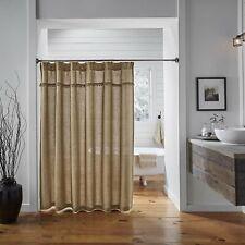 "VHC BRANDS Shower Unlined Curtain, Burlap Tan Natural, 72"" x 72"" NIP"