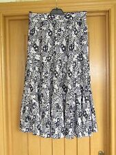 Jacques Vert dk navy purple white pleated banded floaty summer skirt vgc 10/12