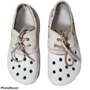 Crocs Cream Islander Leather Lace Boat Shoes  Unisex Women's sz 8 Men's sz 6