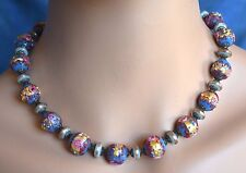 Vintage / Antique Turquoise Wedding Cake Murano Roses Glass Spacer Bead Necklace