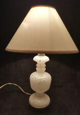 White Murano Glass Table Dresser Lamp Brass Bottom