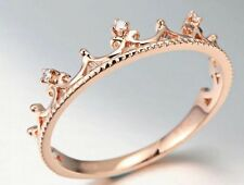18K Rose Gold GP Austrian Crystal Princess Crown Tiara Lady Diamond Ring R144b