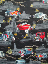 CLASSIC HOT ROD CARS ROUTE 66 DINER TROPICAL INLAY BLUE RARE COTTON FABRIC FQ