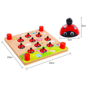 Ladybug's Garden Wooden Memory Match Games for Boys Girls Kids Ages 3 and up