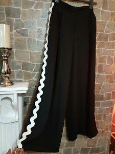 Womens River Island Wide Leg Trousers Monochromatic Side Details UK 8 L 31