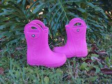 Crocs Handle It Rain Puddle Boots Pink Kids Girls Juniors 1 J1 Pull On