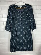 Boden Womens Blue Corduroy Dress with Green Polka Dots Size 6