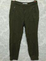 Zara Z1975 Basic Military Slim Jogger Pants Womens US 4 EUR Khaki Army Green