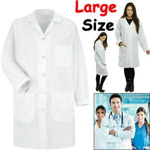 White Medical Lab Coat Doctors Unisex Nursing Industry Pocket Jackets Large UK