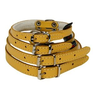 YELLOW DOG PUPPY REAL LEATHER COLLAR