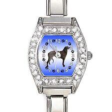 Scottish Deerhound CZ Womens Stainless Steel Italian Charms Wrist Watch BJ1068
