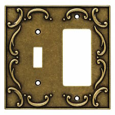 126387 Burnished Antique Brass French Lace Single Switch / GFCI Cover Plate