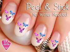 Purple Green and Pink Butterflies Nail Decal Sticker Set BFY102
