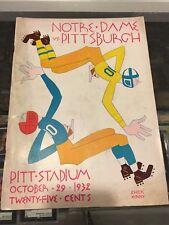 10/29 1932 PITT PITTSBURGH VS.NOTRE DAME FOOTBALL PROGRAM PITT STADIUM EX