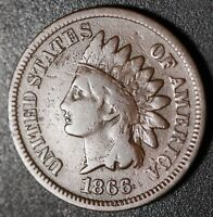 1866 INDIAN HEAD CENT - FINE - TRIPLED LIBERTY & MPD *SNOW-1* 4 STAR VARIETY!