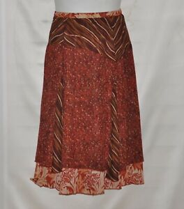 Koos of Course Reversible Printed Skirt Size 10 Rust