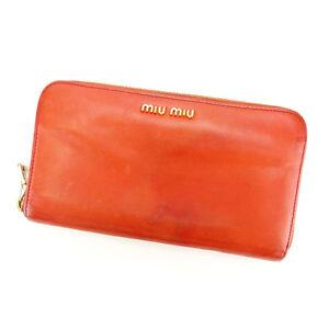 miumiu Wallet Purse Long Wallet Logo Red Gold Woman Authentic Used Y3295