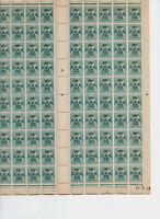 Planche neuve de 100 timbres taxe 50 cts sur 2 francs CFA 1948