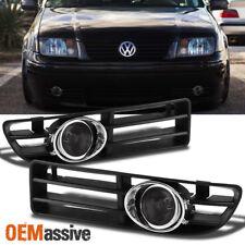 Fits 1999-2005 VW Jetta Smoke Bumper Fog Lights Lamps w/Switch + Bulbs + Bezel
