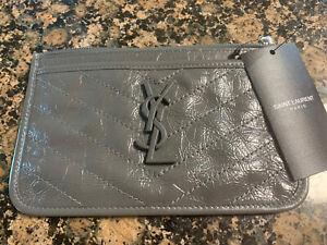 NWT Saint Laurent Niki Bill Pouch Crinkled Vintage Leather
