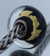 Authentic Trollbeads Black Gold 62015 New Glass Charm Bead