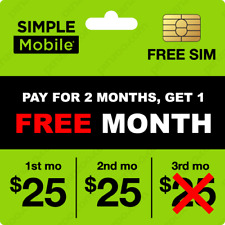 Simple Mobile Sim Bundle $25 Plan For 3 Months Of Service Only $50