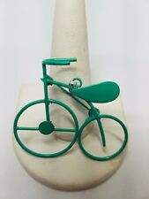 Turquoise Color Enamel Bicycle Pin Necklace Vintage Bike