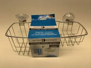 Powerful Vacuum Suction Cup Shower Caddy Basket Combo Organizer Chrome