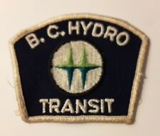 "VTG 1970s B.C. Hydro British Columbia Canada Transit Bus Driver Patch 3.25""x2.5"""