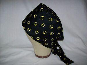 Men/Women Surgical Scrub Cap Lined DC Comics Batman Small Logo B/Y 100% Cotton