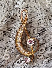 Vintage Pin Brooch Treble Clef Music Gold Tone Rhinestones