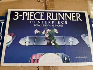 """Perfect Settings 36"""" Beveled Glass Mirror Table Runner 3 piece vintage set"""