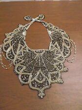Stunning Vintage Black Mesh Capelet Shawl~Gold Sequins & Beads + Rhinestones
