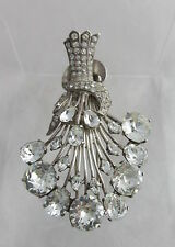 Gorgeous Signed Eisenberg Original Sterling&Crystals Sheaf of Wheat Pin Fur Clip