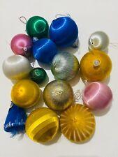 Job Lot Of Vintage Christmas Satin Balls Baubles Xmas, Retro 80s Cotton