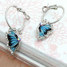 KE_ Women Blue Crystal Rhinestone Enamel Butterfly Dangle Hoop Earrings Earbob