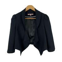 Review Womens Blazer Jacket Size 10 Open Front Black Bolero Long Sleeve Collared