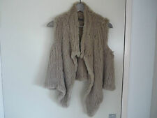 AS NEW - SCANLAN AND THEODORE BEIGE FUR VEST - SIZE SMALL (8-10)