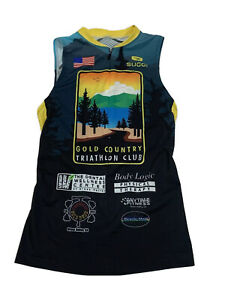 Sugoi Women's Size Small Gold Country Triathlon Club Sleeveless Half Zip Cycling