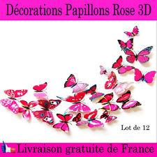 Décorations papillons 3D Rose lot de 12 stickers mureaux aimanté chambre