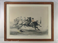 GRANDE LITHO ANCIENNE, E. CICERI, le départ de la course, chevaux, jockeys