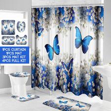 180CM Waterproof Shower Curtain Bathroom Toilet Seat Rug Cover Mat Carpet Kit